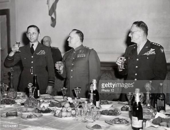 At Russian Headquarters in Berlin British Air Chief Marshal Sir Arthur Tedder Deputy Supreme Commander Russian Field Marshal Georgi K Zhukov Deputy...
