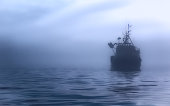 Ship at sea in the mist...