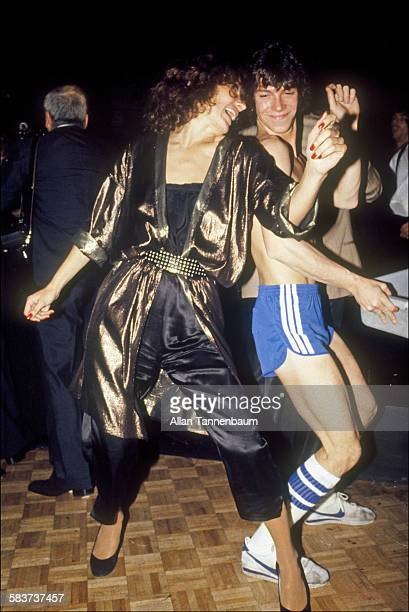 At Studio 54 Maggie Trudeau wife of former Canadian Prime Minister Pierre Trudeau dances with a busboy New York New York 1980s
