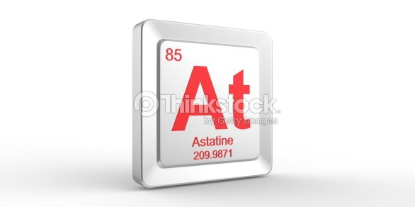 At Symbol 85 Material For Astatine Chemical Element Stock Photo