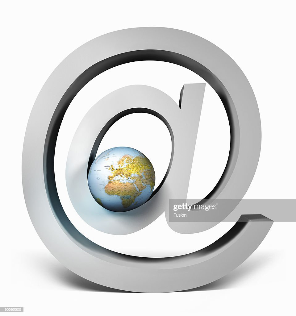 At Symbol With Globe Of Earth : Stock Photo