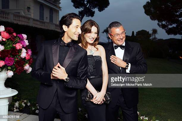 at the 21th Gala of AmFar Cinema Aganist AIDS Adrien Brody Carla Bruni Sarkozy and JeanChristophe Babin are photographed for Paris Match in Cap...