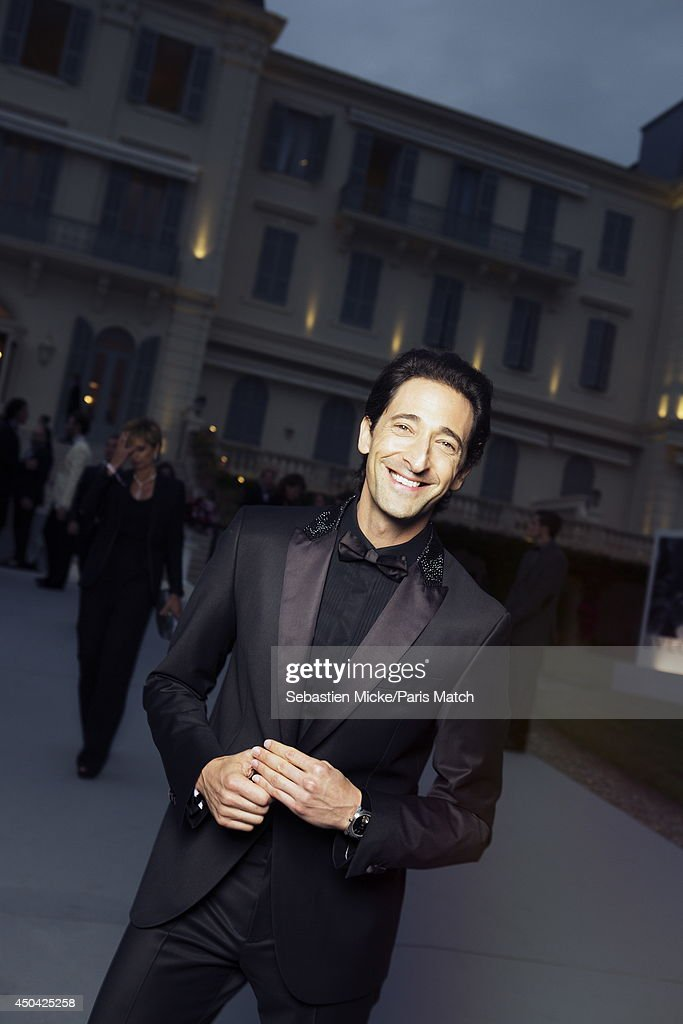 at the 21th Gala of AmFar Cinema Aganist AIDS, Adrien Brody is photographed for Paris Match in Cap d'Antibes at the Hotel Cap-Eden-Roc on May 22, 2014;