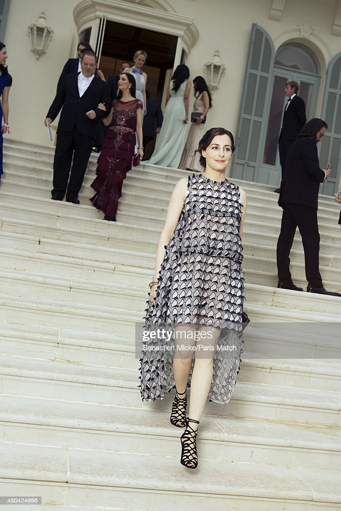 at the 21th Gala of AmFar Cinema Aganist AIDS, Amira Casar wearing a Christian Dior dress is photographed for Paris Match in Cap d'Antibes at the Hotel Cap-Eden-Roc on May 22, 2014;