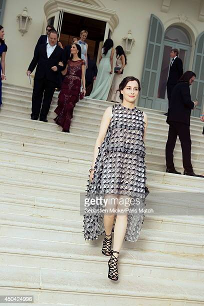 at the 21th Gala of AmFar Cinema Aganist AIDS Amira Casar wearing a Christian Dior dress is photographed for Paris Match in Cap d'Antibes at the...