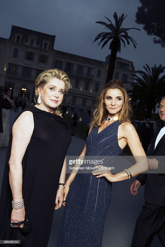 at the 21th Gala of AmFar Cinema Aganist AIDS, Catherine Deneuve and Clotilde Courau are photographed for Paris Match in Cap d'Antibes at the Hotel Cap-Eden-Roc on May 22, 2014;