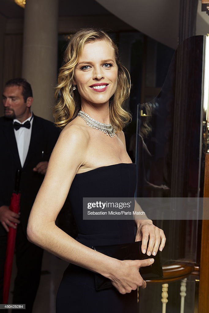 at the 21th Gala of AmFar Cinema Aganist AIDS, Eva Herzigova is photographed for Paris Match in Cap d'Antibes at the Hotel Cap-Eden-Roc on May 22, 2014;