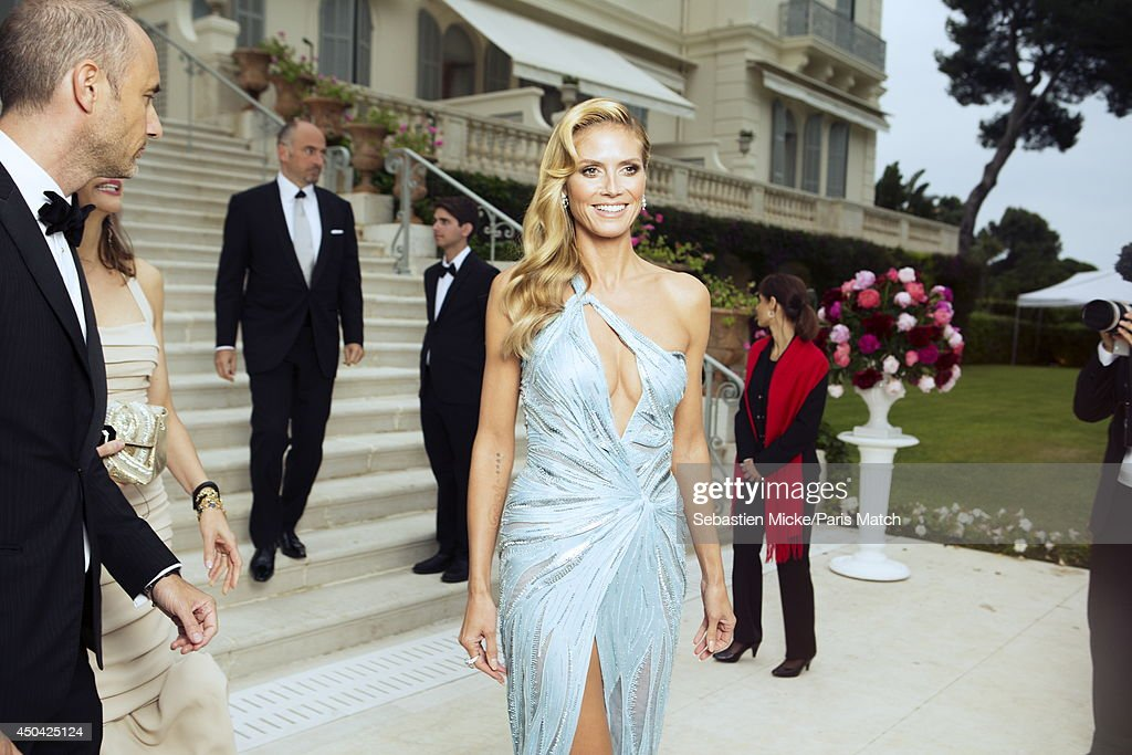 at the 21th Gala of AmFar Cinema Aganist AIDS, Heidi Klum is photographed for Paris Match in Cap d'Antibes at the Hotel Cap-Eden-Roc on May 22, 2014;