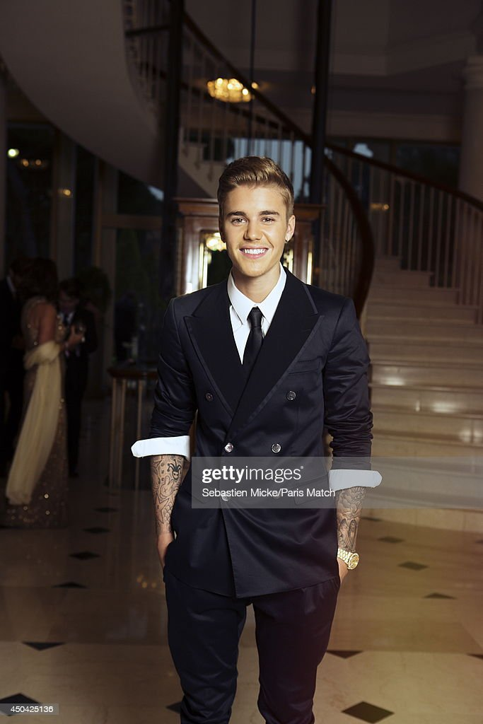 at the 21th Gala of AmFar Cinema Aganist AIDS, Justin Beiber is photographed for Paris Match in Cap d'Antibes at the Hotel Cap-Eden-Roc on May 22, 2014;
