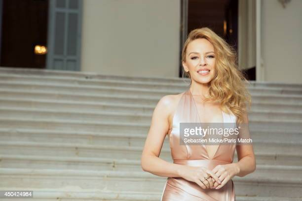 at the 21th Gala of AmFar Cinema Aganist AIDS Kylie Minogue wearing a Juan Carlos Obando dress is photographed for Paris Match in Cap d'Antibes at...