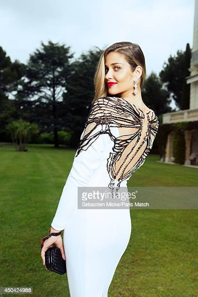 at the 21th Gala of AmFar Cinema Aganist AIDS the brazilian model Ana Beatriz Barros wearing a Zuhair Murad dress is photographed for Paris Match in...