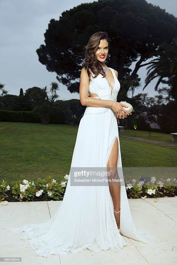 at the 21th Gala of AmFar Cinema Aganist AIDS, the brazilian model Alessandra Ambrosio wearing a Roberto Cavalli dress with a Chopard jewelry is photographed for Paris Match in Cap d'Antibes at the Hotel Cap-Eden-Roc on May 22, 2014;