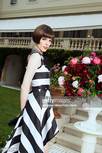 at the 21th Gala of AmFar Cinema Aganist AIDS the canadian model Coco Rocha wearing a Irfe dress is photographed for Paris Match in Cap d'Antibes at...