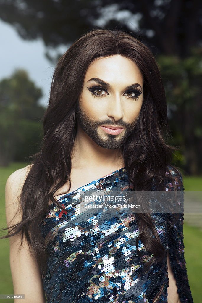 at the 21th Gala of AmFar Cinema Aganist AIDS, the winner of Eurovision 2014, Conchita Wurst alias Thomas Neuwirth is photographed for Paris Match in Cap d'Antibes at the Hotel Cap-Eden-Roc on May 22, 2014;