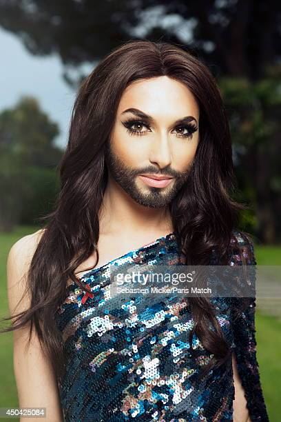 at the 21th Gala of AmFar Cinema Aganist AIDS the winner of Eurovision 2014 Conchita Wurst alias Thomas Neuwirth is photographed for Paris Match in...