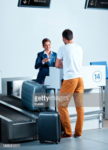 At the airport check in counter