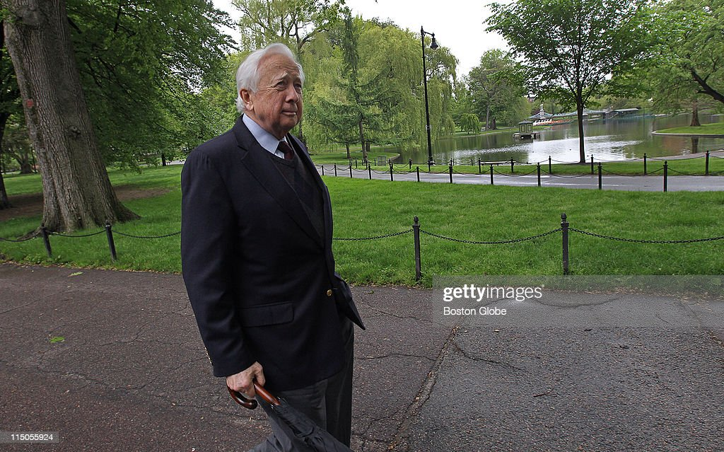 At the Boston Public Garden historian David McCullough walks around Back Bay discussing Boston its history and his new book about American writers...