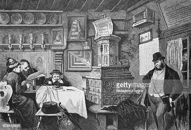 At the bratwurstgloeckle restaurant in nuremberg bavaria germany historic wood engraving ca 1880