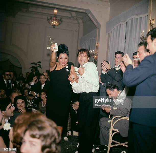 At the christening of herr daughter Rosario the Spanish singer and dancer Lola Flores dancing with dancer Antonio Madrid Castilla La Mancha Spain