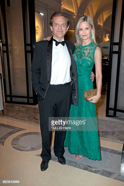 at the dinner of Global Gift Gala at the Hotel Georges V with Frederic Saldmann and his wife Marie