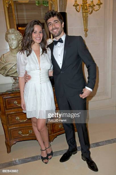 at the dinner of Global Gift Gala at the Hotel Georges V with Lucie Lucas and Agustin Galiana