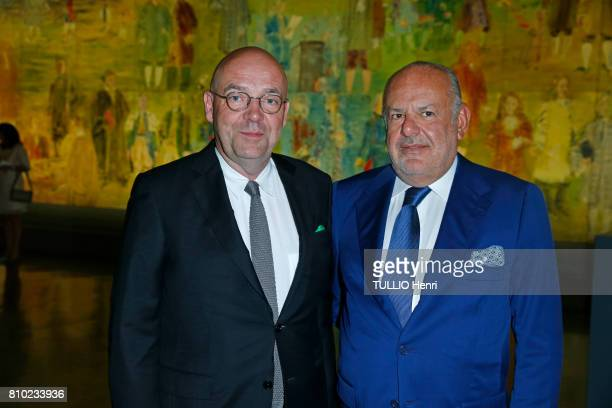 at the dinner of the Maurice Amon Foundation at the Museum of Modern Art of the City of Paris Fabrice Hergott and Maurice Amon on june 7 2017 in...