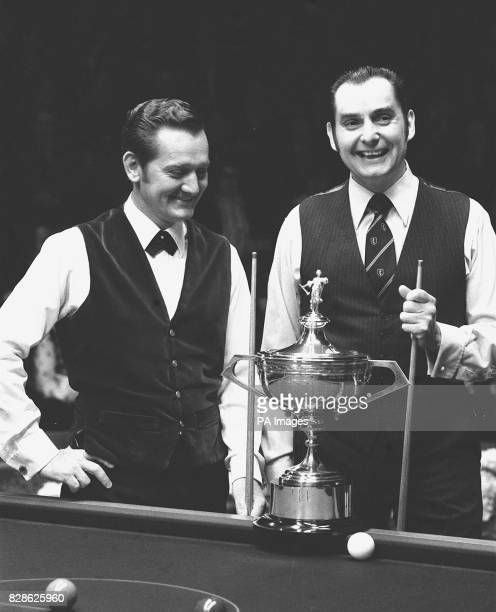 At the Embassy World Snooker championships at Sheffield finalists South Africa's Perrie Mans and Ray Reardon with the trophy before the frames began