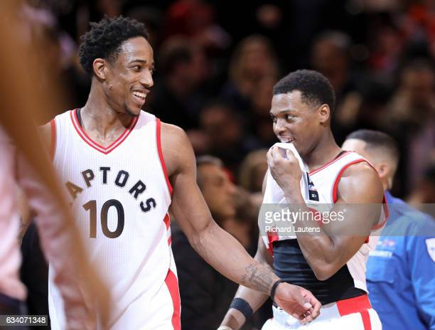 TORONTO ON FEBRUARY 6 At the end of the game Toronto Raptors guard DeMar DeRozan and Toronto Raptors guard Kyle Lowry are all smiles as they head off...