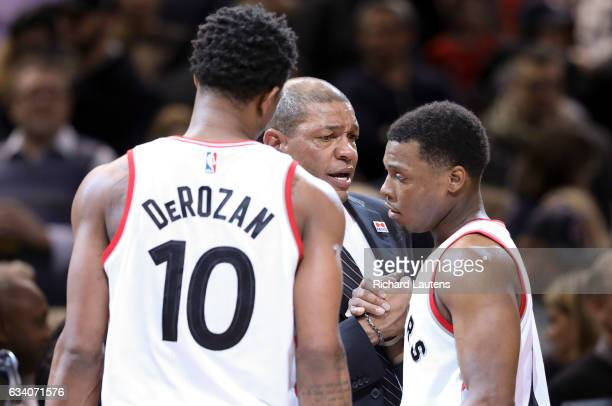 TORONTO ON FEBRUARY 6 At the end of the game Toronto Raptors guards Kyle Lowry and DeMar DeRozan chat with Clippers coach Doc Rivers The Toronto...
