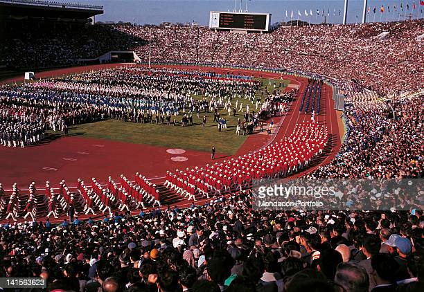 At the end of the numerous delegations the Japanese team is parading The host nation follows the Yugoslav delegation Tokyo October 10 1964