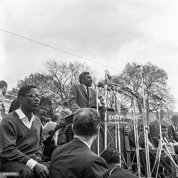 At the end of the Selma to Montgomery March Civil Rights leader Bayard Rustin speaks to the assembled marchers and spectators in front of the Alabama...