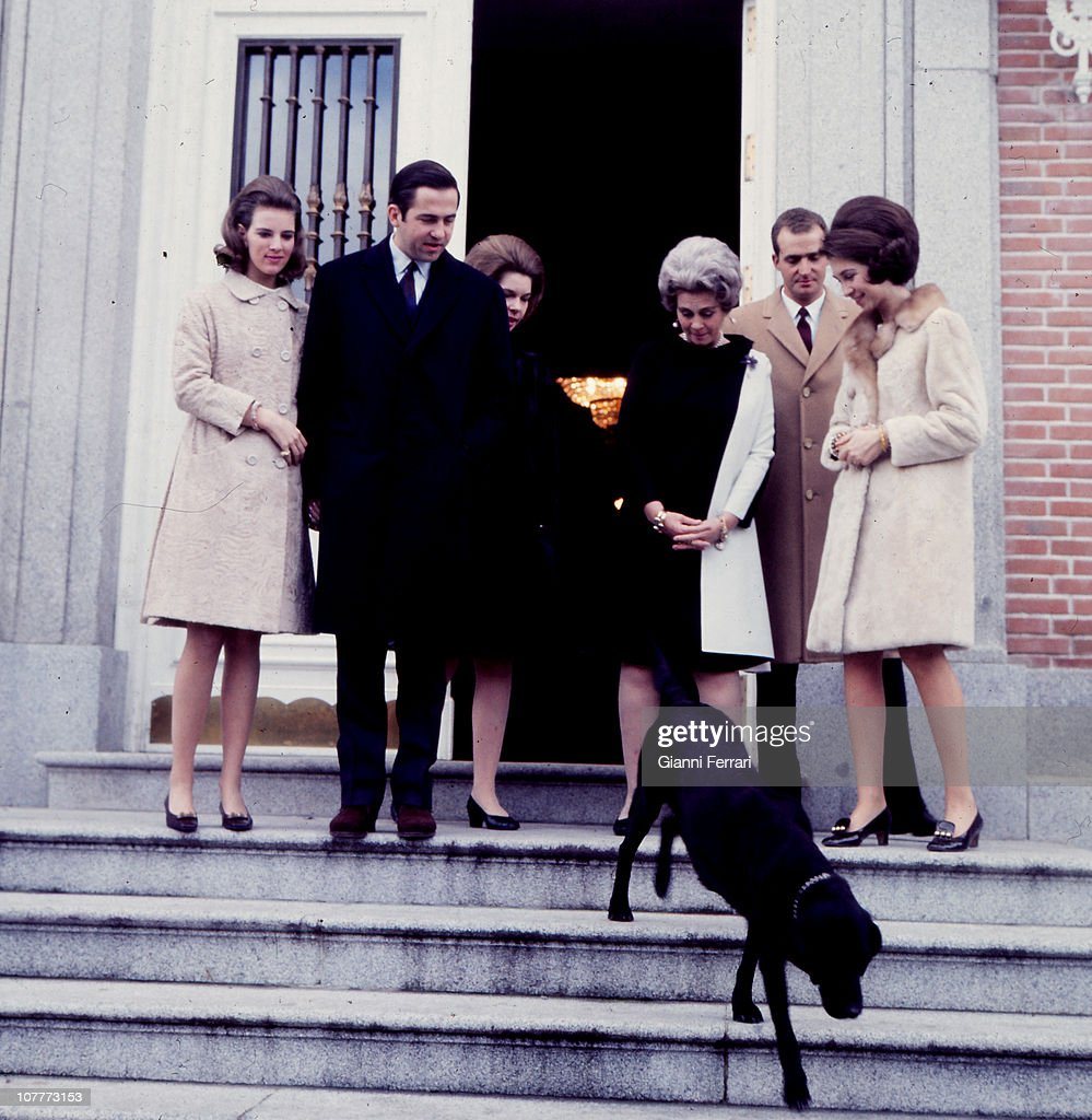 At the entrance of the Zarzuela Palace Anamaria Queen of Greece and her husband King Constantine of Greece Princess Irene of Greece the Queen Mother...