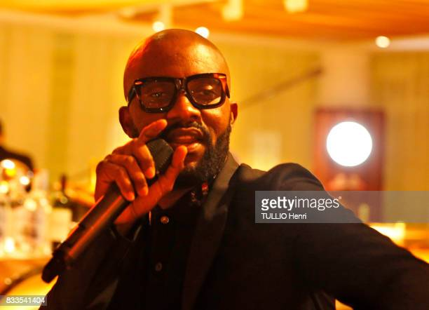 at the evening for Ira Furstenbergh designer jewelry exhibition at the YachtClub the singer Fally Ipupa on july 24 2017 in Monaco