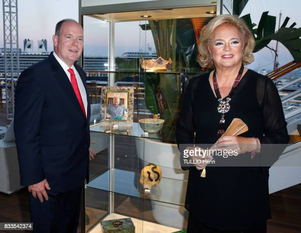 at the evening for Ira Furstenbergh designer jewelry exhibition at the YachtClub Prince Albert II of Monaco and Ira de Furstenberg on july 24 2017 in...