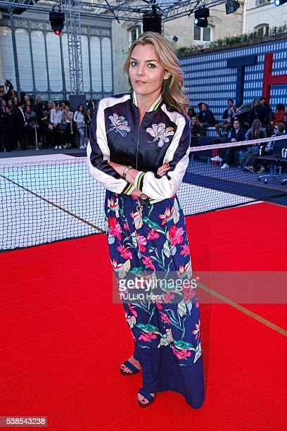 at the evening gala by Tommy Hilfiger who organized the match Football/Tennis Justine Fraioli is photographed for Paris Match on may 182016 in Paris...