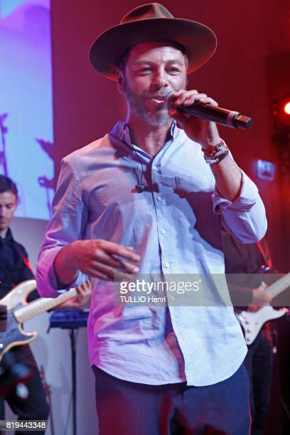 at the evening gala for the 40th anniversary of Benjamin Patou at the Hotel Salomon de Rothschild the singer Christophe Mae on june 22 2017 in Paris...