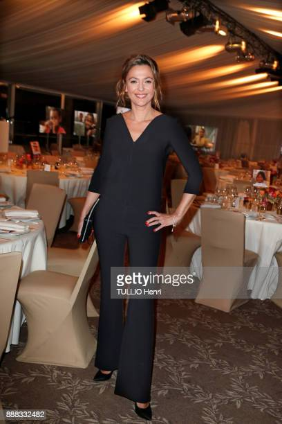 at the evening gala for the association Zazakely Sambatra at the Pre Catelan Sandrine Quetier is photographed for Paris Match on november 13 2017 in...