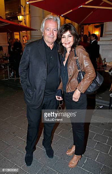 at the evening gala for the drama Tout ce que vous voulez at the theater EdouardVII Pierre Arditi and his wife Evelyne Bouix pose for Paris Match on...