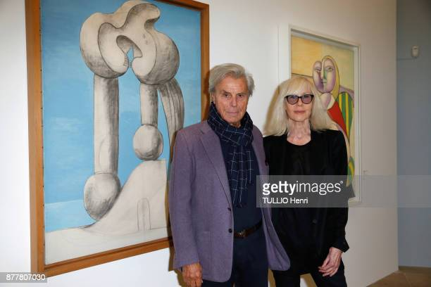 at the evening gala for the inauguration of the exhibition Picasso 1932 Annee Erotique Francois and Betty Catroux are photographed for Paris Match on...