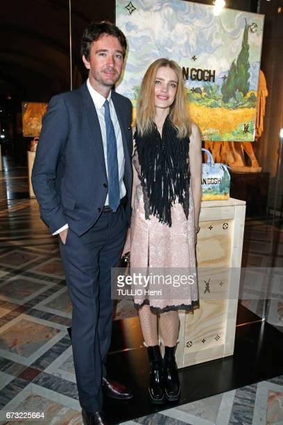 at the evening gala for the new collection Masters of louis Vuitton by Jeff Koons Antoine Arnault with his wife Natalia Vodianova pose for Paris...