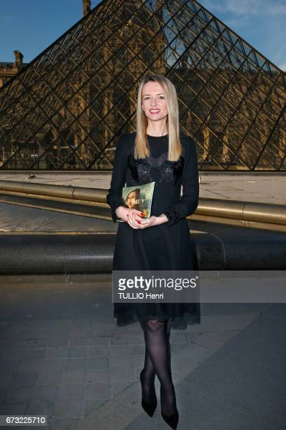 at the evening gala for the new collection Masters of louis Vuitton by Jeff Koons Delphine Arnault poses for Paris Match on april 11 2017 in Paris...