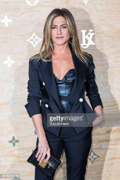 at the evening gala for the new collection Masters of louis Vuitton by Jeff Koons Jennifer Aniston pose for Paris Match on april 11 2017 in Paris...