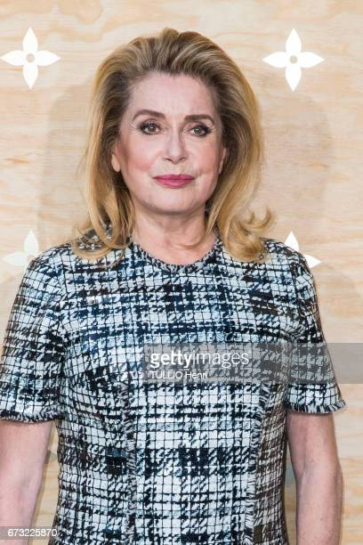 at the evening gala for the new collection Masters of louis Vuitton by Jeff Koons Catherine Deneuve poses for Paris Match on april 11 2017 in Paris...