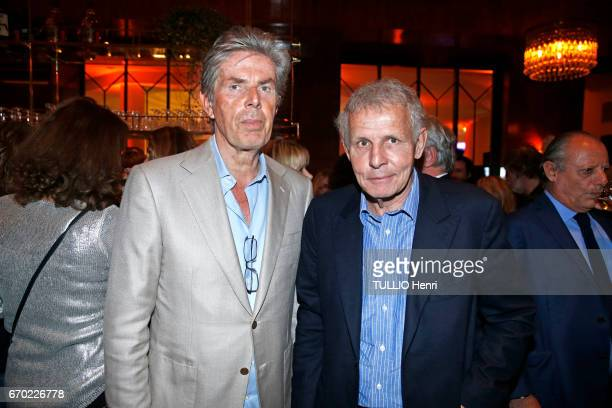 at the evening gala for the new restaurant Noto Dominique Desseigne and Patrick Poivre d'Arvor pose for Paris Match on march 29 2017 in Paris France