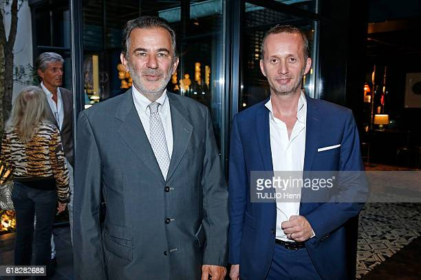 at the evening gala for the opening of the Roch Hotel Spa decorated by Sarah Lavoine JeanFrancois Legaret and Emmanuel Blanchemanche pose for Paris...
