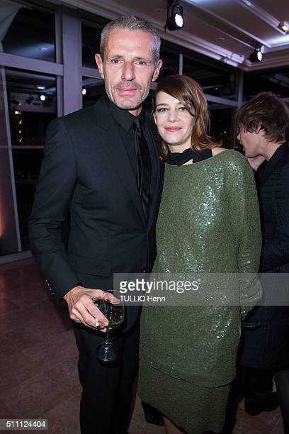 at the evening gala of Aids Sidaction 2016 Lambert Wilson and Celine Salette are photographed for Paris Match on january 28 2016 in Paris France