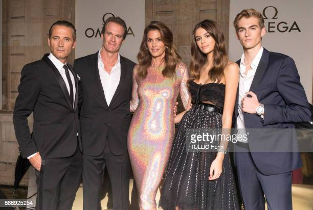 at the evening gala of the jewelery Omega Cindy Crawford with her husband Rande Gerber theirs childrens Kaia 16 years Serafine and Presley 18 years...
