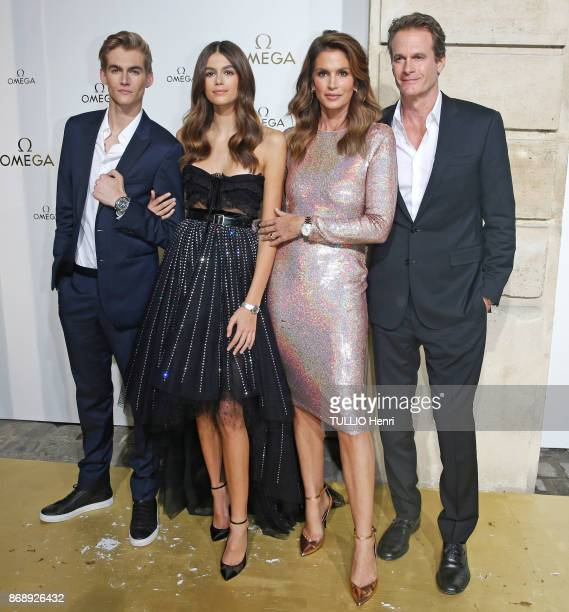 at the evening gala of the jewelery Omega Cindy Crawford with her husband Rande Gerber theirs childrens Kaia 16 years and Presley 18 years are...