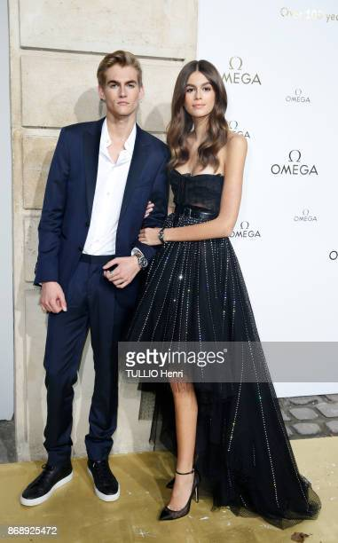 at the evening gala of the jewelery Omega Kaia Gerber and his brother Presley 18 years are photographed for Paris Match on september 29 2017 in Paris...