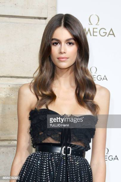 at the evening gala of the jewelery Omega Kaia Gerber is photographed for Paris Match on september 29 2017 in Paris France